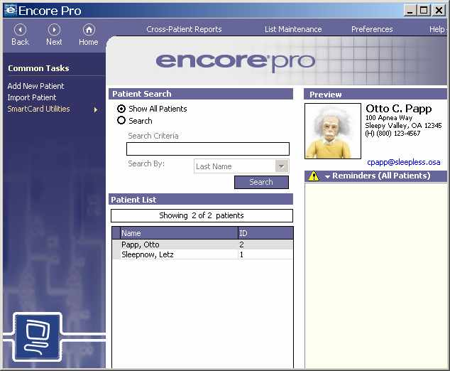 Encore Pro CPAP Software Home Screen